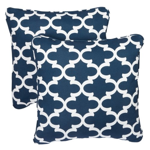 r/Outdoor 18-inch Corded Pillow, Scalloped Navy, Set of 2 ()