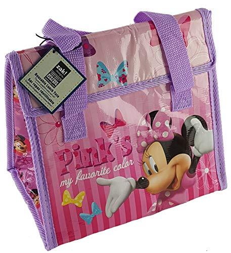 Zak! Designs Insulated Lunch Bag with Velcro Closure featuring Minnie Mouse's Favorite Color, Reusable and BPA-free (Minnie Mouse Container)