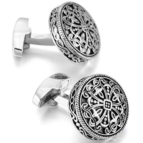 (MOWOM Silver Tone Black 2PCS Rhodium Plated Cufflinks Celtic Cross Shirt Wedding Business)