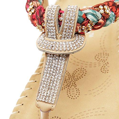Donna Perline Zoerea Forma Modello 1 Bassi Bohemia PU Elegante con Stile Sandali a da Fiore da Decorare Estate Sandali Beige Infradito di Cuoio AATxEq6rw