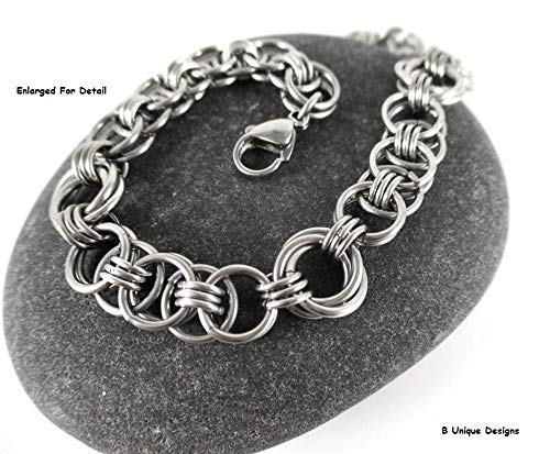 Women's Stainless Steel Medieval Chain Mail Bracelet or Anklet Jewelry with Love Knot Handmade in USA Chainmaille BFF Anniversary Gift