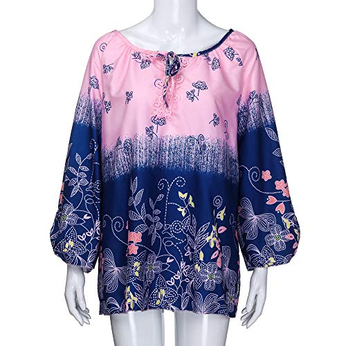 Miuye yuren Women's Floral Print Short Sleeve V Neck Ruched Twist Tops Loose Casual Blouse Shirts Pink
