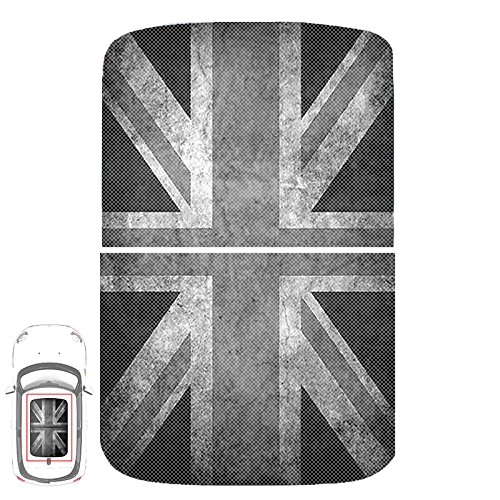 (Paileco Automotive Sunroof Vinyl Sticker for F54 F55 F56 (1set 2pcs, Grey Grunge Union Jack Flag, Vinyl))