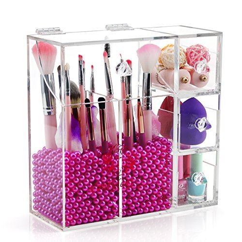 Clear Acrylic Makeup Brush Holder with Lid,Large Makeup Brush Storage with 2 brush holders and 3 Drawers, Acrylic cosmetic brush holder with Pearls (Rosy) for lipsticks,Sponge on counter-top - NEWCREA