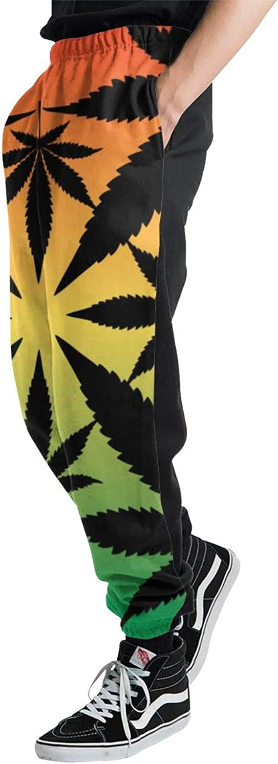 Ye Hua Siluetas de Hojas de Marihuana en Pantalones de chándal de ...