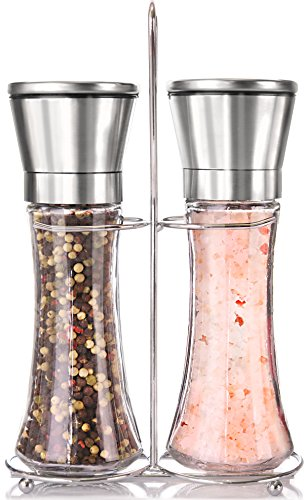 Premium Stainless Steel Salt and Pepper Grinder Set With Stand - Tall Salt and Pepper Shakers with Adjustable Coarseness - Salt Grinders and Pepper Mill Shaker Mills - Steel Plastic Shaker