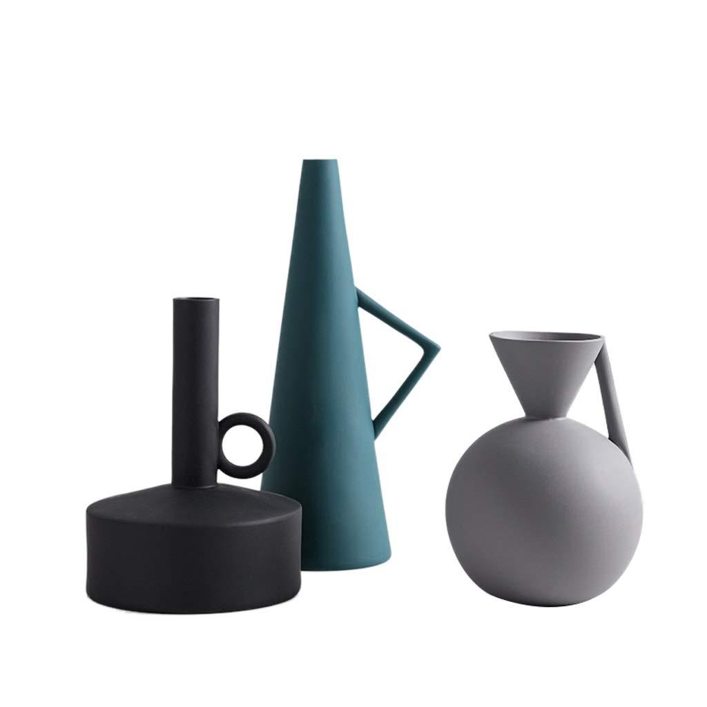 シンプルな花瓶セットセラミック装飾品リビングルームモデルフラワーアレンジメントクリエイティブ幾何学アートデコレーション HUXIUPING B07T2X13PB