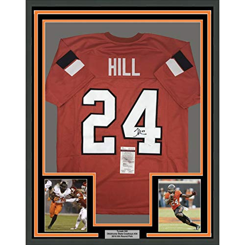 Framed Autographed/Signed Tyreek Hill 33x42 Oklahoma State Orange College Football Jersey JSA COA