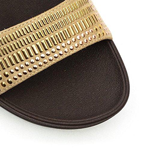 FitFlop mujer zapatillas 419-323 AZTEK CHADA DIAPOSITIVA oro rojo