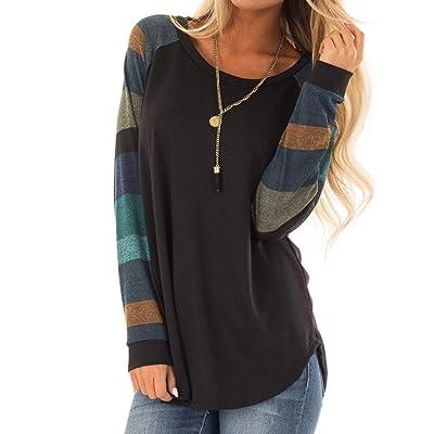 Top Stripe Shirt Casual FemmeMode Femmes Dames Hooduo T Crop 8nNvw0m