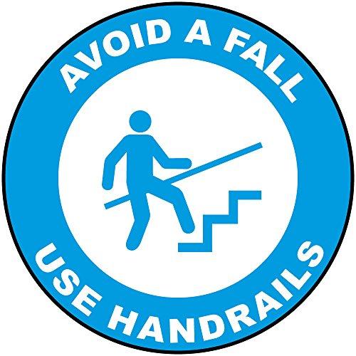 Avoid A Fall Use Handrails Blue Anti-Slip Floor Sticker Decal 17 in longest side