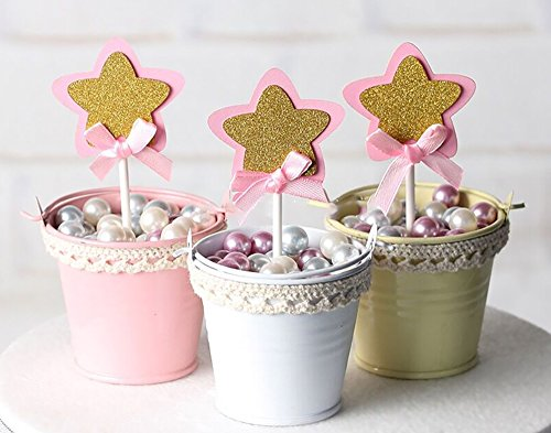 21-pac Pink and Gold Star Cupcake Toppers Picks, Glitter Star Cake Toppers, Baby Girls Shower Birthday Party Wedding Cake Decoration Supplies (Birthday Star Cake)