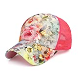 Women Lace Flowers Baseball Cap Sporting Hat Adjustable Top Quality Summer Sun Hats Sports Caps Mesh Hat for Golf Cycling Running Fishing Outdoor Hats (red)