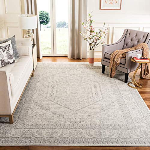 Safavieh Adirondack Collection Ivory and Silver Oriental Vintage Medallion Area Rug (6' x 9') (Style Oriental Furniture Living Room)