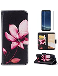 For Samsung Galaxy S8 Plus Case,OYIME [Colorful Painting] Elegant Pattern Design Bookstyle Leather Wallet Case with Screen Protector Kickstand Card Slots Function Holster Full Body Protection Bumper Magnetic Closure Flip Cover with Wrist Lanyard - Pink Lotus