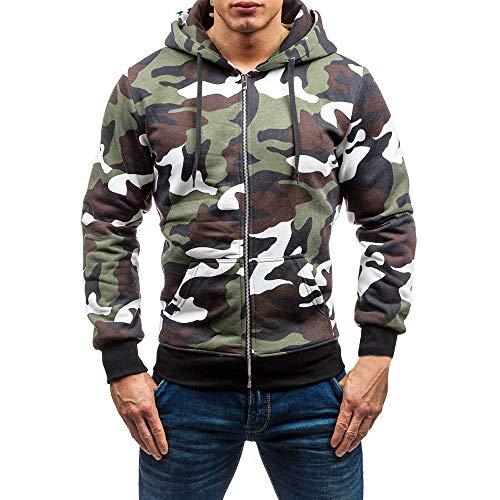Gergeos Clearance Men's Hoodie Sweatshirt Long Sleeve Camouflage Top Outwear Blouse(White,M)