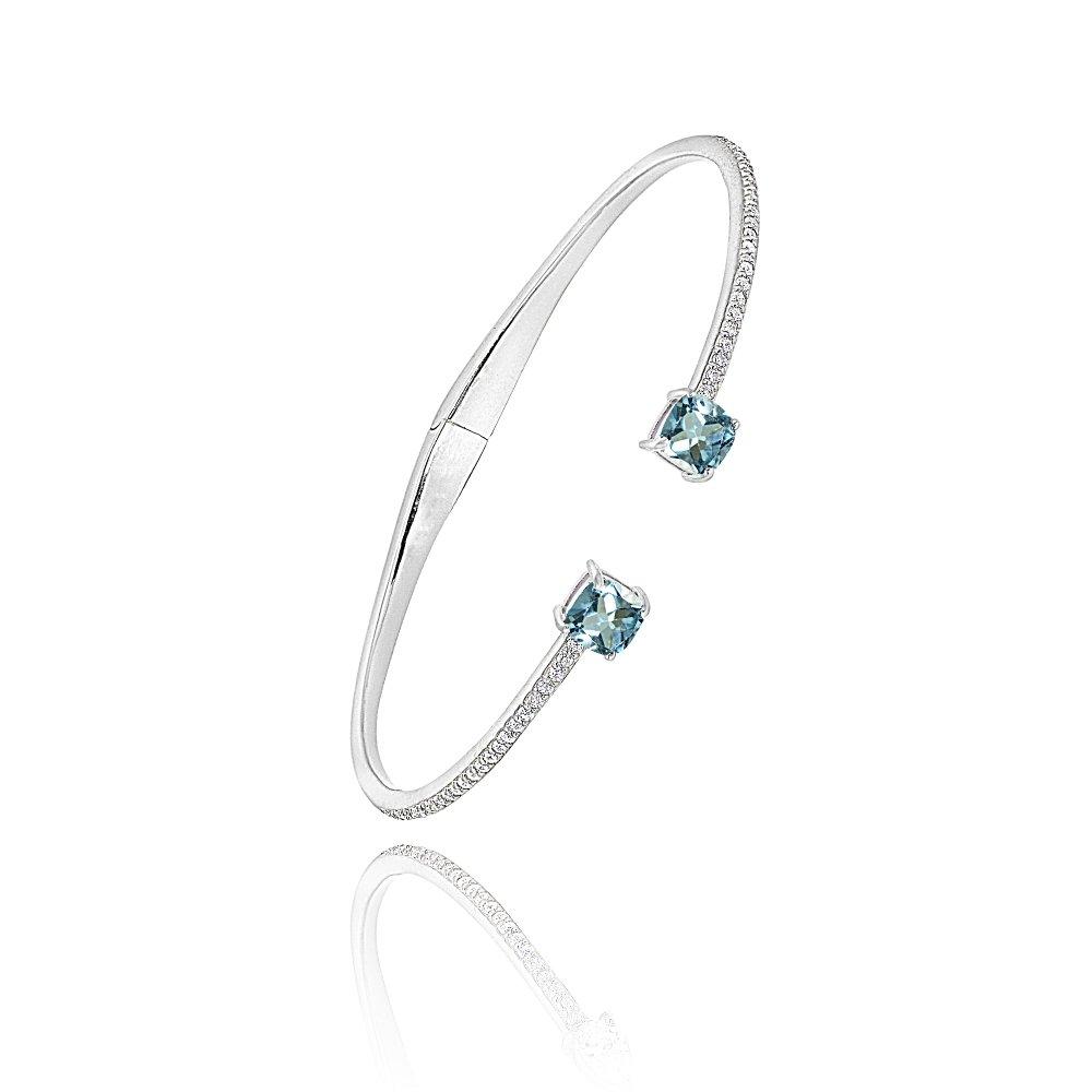 Amazon.com: Brazalete de plata de ley con gemas auténticas y ...