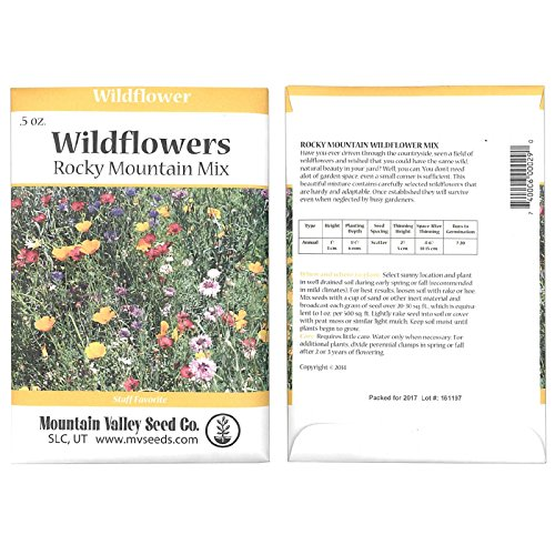 Rocky Mountain Wildflower Seed Mix - 0.5 oz Seed Packet - 22 Wild Flower Seed Varieties - Annuals, Perennials and Bi-Annuals - Flower Garden ()