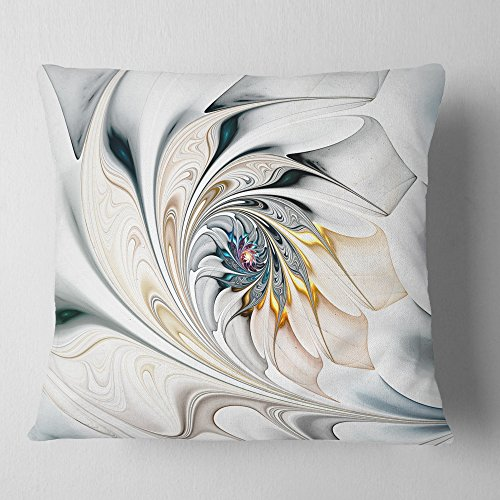 (Designart CU10276-18-18 White Stained Glass Art' Floral Cushion Cover for Living Room, Sofa Throw Pillow, 18 in. x 18 in. in, Insert Printed On Both Side)