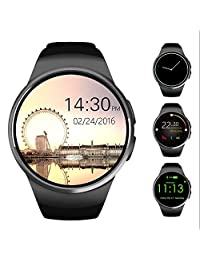 OAK Bluetooth Smartwatch,Touch Screen Smart Watch Phone with SIM Card Slot Sleep Monitor Heart Rate Monitor Pedometer for IOS and Android Devices (KW18-Black)