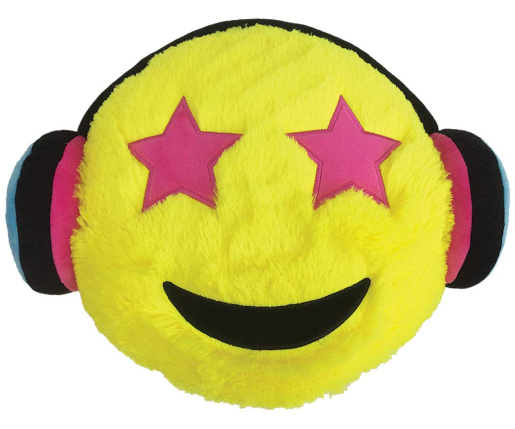 iscream X-Pressive! Plushie Emoji Starry Eyed Music Fan 15' x 12' Furry Pillow with Embroidered Accents