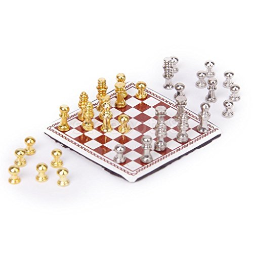 Shallen Vintage Dollhouse Miniature Artist Metal Chess Board Set Play Game Toys 1:12