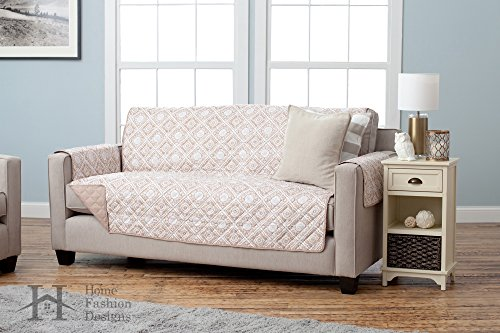 Adalyn Collection Deluxe Reversible Quilted Furniture Protector. Beautiful Print on One Side / Solid Color on the Other for Two Fresh Looks. By Home Fashion Designs Brand. (Sofa, Taupe) - Contemporary Style Loveseat