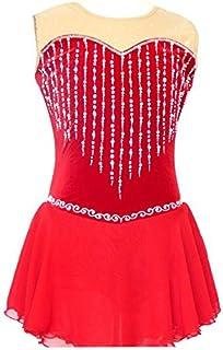 YYDRESS TT&HUAXUE Vestito da Pattinaggio Artistico per Donna da Ragazza Completo da Pattinaggio sul Ghiaccio Design anatomico Senza Maniche Prestazioni, Black
