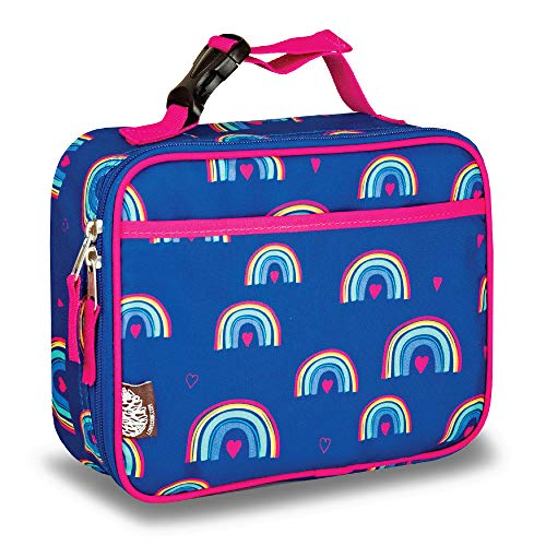 LONECONE Kids' Insulated Fabric Lunchbox - Cute Patterns for Boys and Girls, Hearts and Rainbows, Standard with Buckle