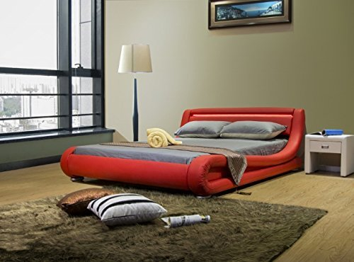 Greatime BL1070 Contemporary Leatherette Bed with Headboard Lights, Queen, Red by Greatime