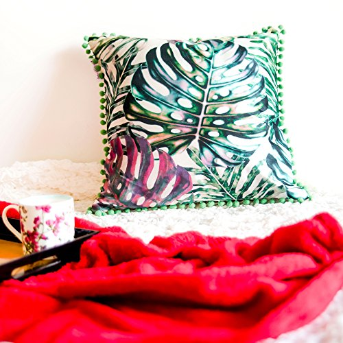 Bohemian Tafetta Tropical Leaves Designer Sofa Cushion Cover