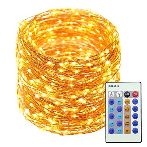 LED Christmas Copper Wire Lights Decorative Fairy Lights - 99Ft 300 LED with 24-Key Controller Dimmable Waterproof Twinkle Lights, for Wedding Party Home Gazebo Patio Garden Indoor&Outdoor(Warm - Gazebo Party Garden Green