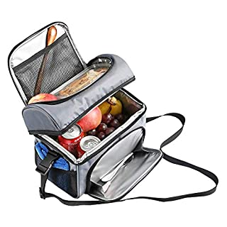 Large Lunch Box, Insulated Large Lunch Bag for Men, Women, Reusable Waterproof Cooler Tote Bag, Double-sewn, Waterproof, 600D Oxford Fabric, Large Mesh Side Pockets, Detachable Shoulder Strap (B0043E8JZW) | Amazon price tracker / tracking, Amazon price history charts, Amazon price watches, Amazon price drop alerts