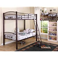 Kings Brand Bronze Metal Heavy Duty Twin / Twin Size Convertible Bunk Bed