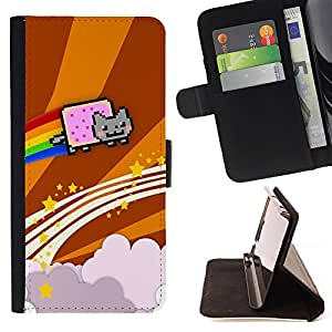 DEVIL CASE - FOR Samsung Galaxy S3 III I9300 - Cat Flying Rainbow Computer Game Music Art - Style PU Leather Case Wallet Flip Stand Flap Closure Cover