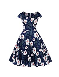 COSEZIN Women's Vintage 1950s Retro Short Sleeve V-Neck Flower Floral Printing Dress for Party Prom Swing Special Occasions