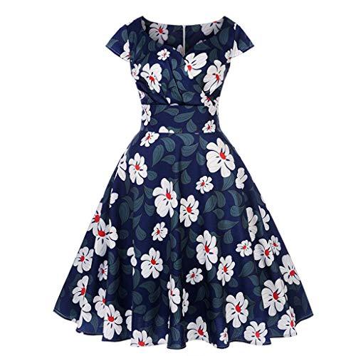 TOTOD Vintage Dress,Women's 1950s Retro Elegant Cap Sleeve Swing Party Dress V-Neck Printing Prom Middress