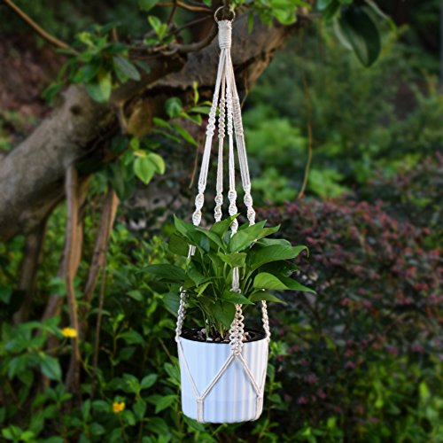 WITUSE cotton hanger Plant Hanger Pure Cotton hanger,Handmade Craft Retro Knitted Ropes-L(with - Limited Cotton Pure