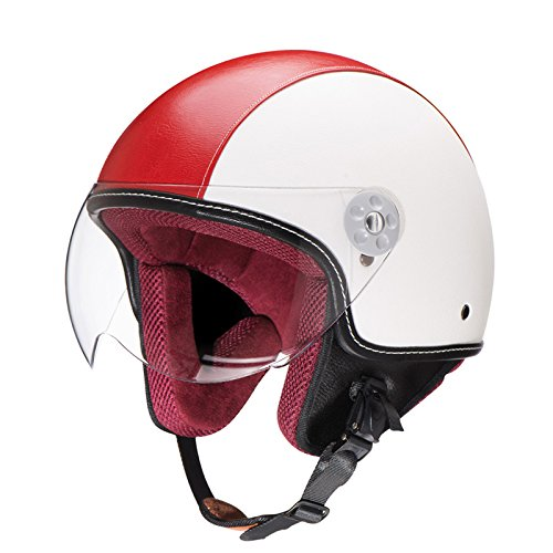 Woljay Leather Motorcycle Vintage Half Helmets Motorcycle Biker Cruiser Scooter Touring Helmet (M, Red)