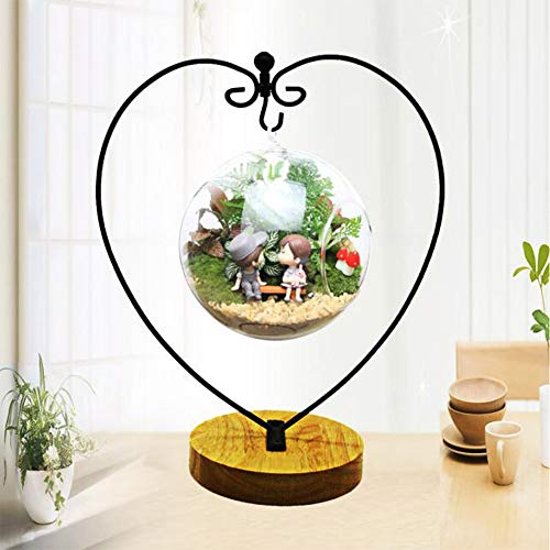 Ornament Display Stand Iron Pothook Stand for Hanging Glass Terrarium with Wood Base Creative Decoration for Home Garden Wedding Party Festival (Heart)
