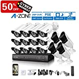 A-ZONE 16 Channel DVR 1080P Security Camera System W/ 12x HD-AHD 1080P Fixed Camera & 4X HD 1080P Varifocal Camera IR 2.8-12mm Lens Camera-Without HDD,Customizable Motion Detection