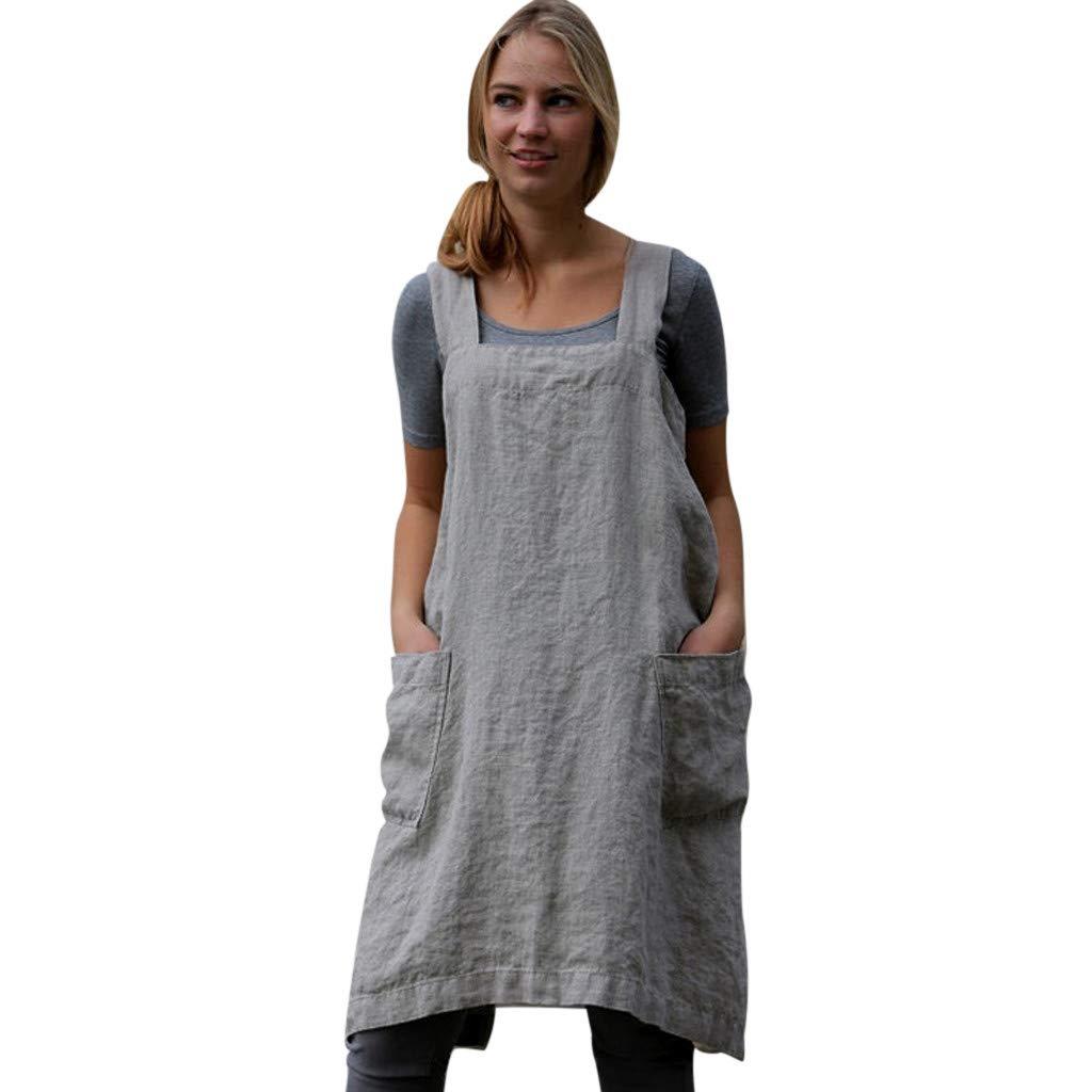 LisYOU Women Work Pinafore Dress Handmade Chef Cotton Linen Dresses with Pockets (M, Gray)