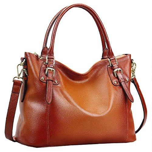 Big Sale—S-ZONE Women's Vintage Large Genuine Leather Handbags Laptop Tote Shoulder Bag Top-handle Purse