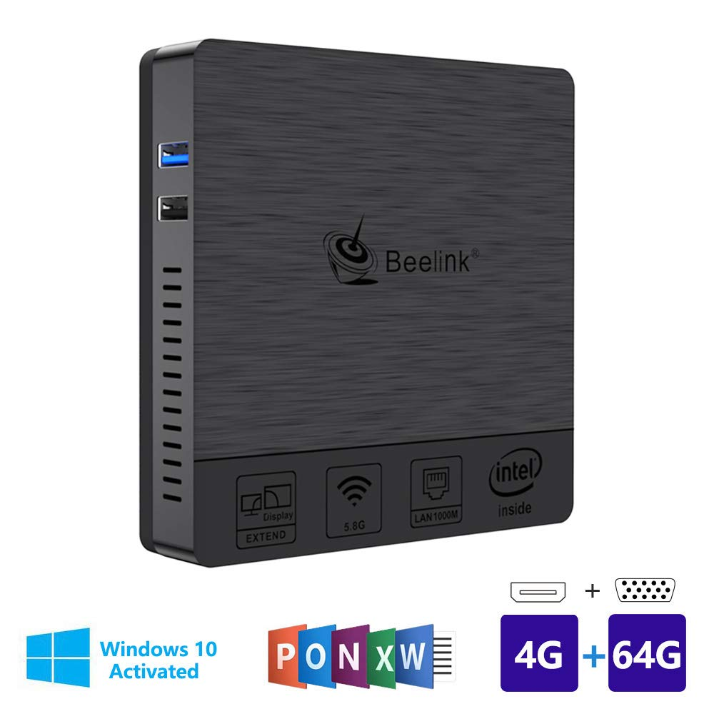 Beelink BT3Pro Windows 10 Multi Media Desktop Full 4K HD H.265 Smart Mini PC Intel Atom x5-Z8350 Processor 4GB+64G/4K/1000Mbps LAN/HDMI/VGA/2.4G+5.8G Dual WiFi