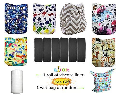 LilBit Baby 6pcs Bamboo Charcoal Inserts And 6 pcs Reusable Newborn Cloth Diapers LBTZH14-UK
