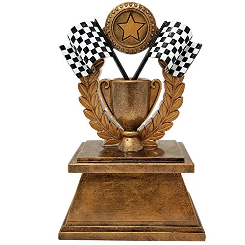 Decade Awards  Racing Checkered Flag Trophy  NASCAR Cup Award  Motocross Trophies | 7 Inch Tall - Free Engraved Plate on Request