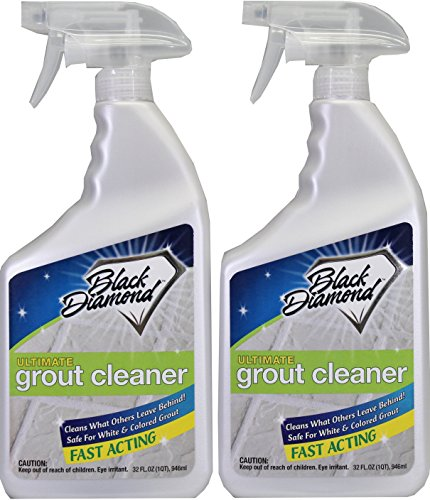 Ultimate Grout - Black Diamond Ultimate Grout Cleaner and Stain Remover- Set of 2 Qt Spray Bottles and 1 Grout Brush. Ceramic, Porcelain & Marble Tile for White or Colored Grout, Floor Care & Maintenance.