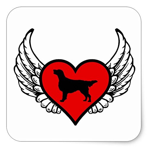 (Lancy's Artwork Flat-Coated Retriever Winged Heart Love Dogs Square Sticker - Sticker Graphic - Auto, Wall, Laptop, Cell, Truck Sticker for Windows, Cars, Trucks )