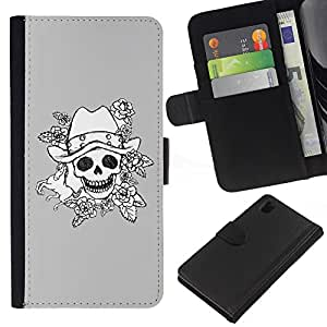 All Phone Most Case / Oferta Especial Cáscara Funda de cuero Monedero Cubierta de proteccion Caso / Wallet Case for Sony Xperia Z1 L39 // Evil Emo Dark Rock Grey Poker