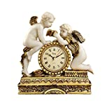 Design Toscano Chateau Carbonne Cherub Mantel Clock Statue, 10 Inch, Polyresin, Gold and Ivory